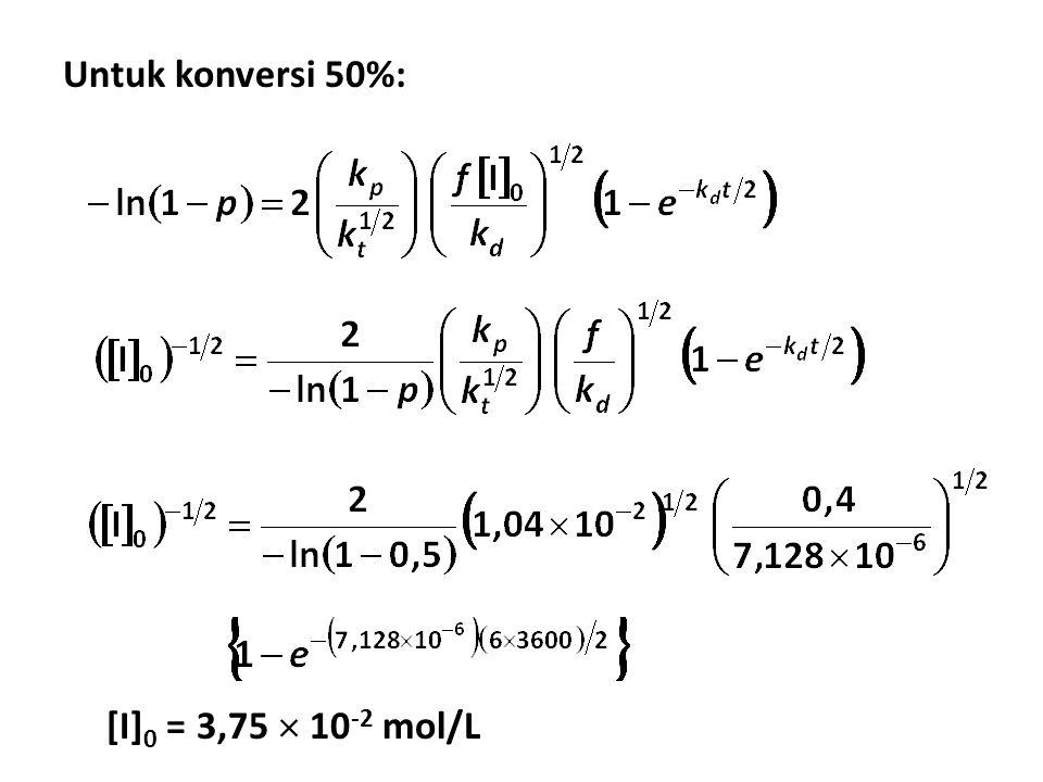 Untuk konversi 50%: [I]0 = 3,75  10-2 mol/L